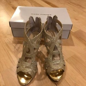 Marc Fisher Nala Gold Heels Size 7.5